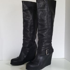 Vera Wang Lavender Black Leather Wedge Long Boots
